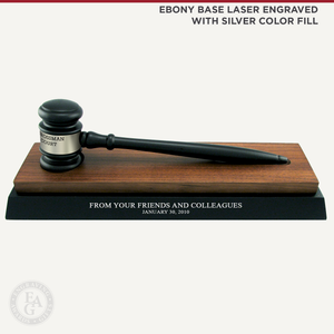 Ebony Finish Gavel with Walnut and ebony Finish Desk Stand Laser Engraved with Silver Color Fill