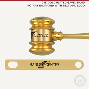 24K Gold Plated Gavel Band Rotary Engraved
