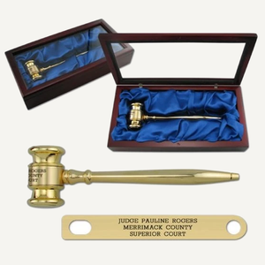 "8"" Solid Brass Gavel with Mahogany Finish Presentation Case"