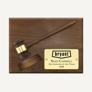 "12"" x 9"" Genuine Walnut Split Gavel and Sound Block Plaque with Bright Gold Plate"