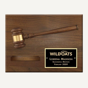 "12"" x 9"" Genuine Walnut Split Gavel and Sound Block Plaque with Gloss Black Plate"