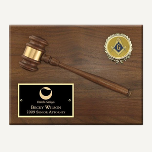 "12"" x 9"" American Walnut Gavel Plaque with Disc"