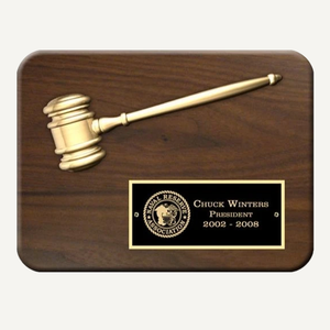 "12"" x 9"" Engraved Split Metal Gavel Plaque with Gloss Black Plate"