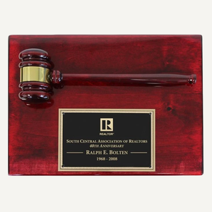 "12"" x 9"" Piano Finish Gavel Plaque with Black Brass Plate"