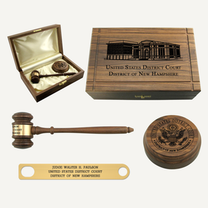 10-1/2in American Walnut Gavel Sound Block and Case Presentation Set Lead In
