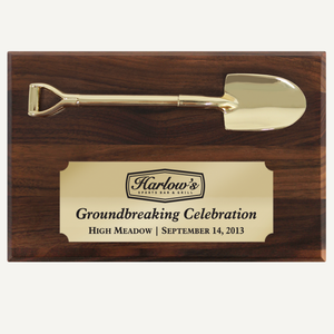"6"" x 4"" Miniature Groundbreaking Shovel Plaque"
