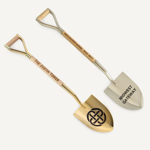8 1/2 inch Gold and Silver Miniature Shovels with Wood Handles