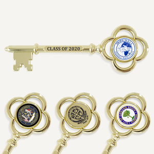 "8"" Gold Plated Ceremonial Key with Flat Stem"