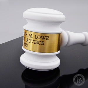 8in White Finish Gavel