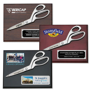 "9-1/2"" Chrome Ceremonial Scissors Piano Finish Plaque"
