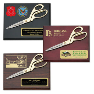 "9-1/2"" Gold Ceremonial Scissors Plaque"