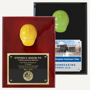 "9"" x 12"" Miniature Hard Hat Plaque - Assorted Color"