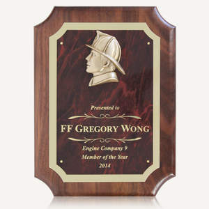 "9"" x 12"" Walnut Plaque with Cast Fireman's Head"