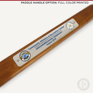 Chrome Plated Groundbreaking Shovel - Paddle Handle - Full Color Printed Plate