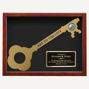 Giant Ceremonial Key Display Case - Cherry Finish
