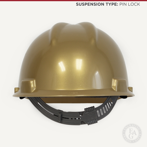 Gold Finish Groundbreaking Hard Hat - Pin Lock Suspension