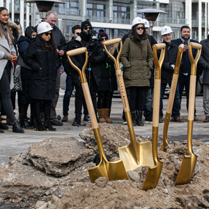 Gold Finish Groundbreaking Shovel - D-Handle - Altree Developments Groundbreaking Photo