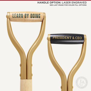 Gold Finish Groundbreaking Shovel - D-Handle - Laser Engraved Handle