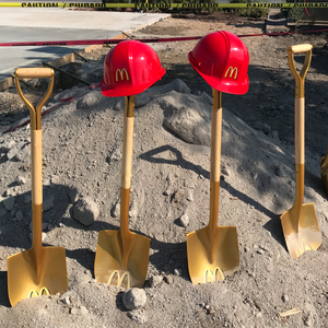 Gold Finish Groundbreaking Shovel - D-Handle - McDonalds Groundbreaking Photo