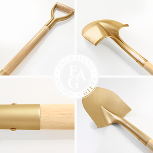 Gold Finish Groundbreaking Shovel - D-Handle - Quality Collage