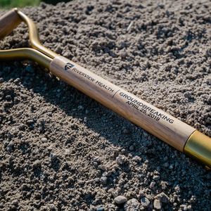 Gold Finish Groundbreaking Shovel - D-Handle - Riverview Health Groundbreaking Ceremony Photo