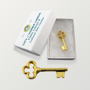Gold Key Lapel Pins - Clover Key