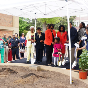 Gold Painted Groundbreaking Shovel - Small - Coretta Scott King Rose Garden Planting Ceremony Photo