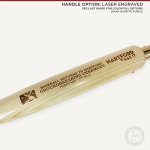 Specialty Gold Plated Groundbreaking Shovel - Baseball Bat Handle - Laser Engraved Handle