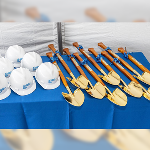 Gold Plated Groundbreaking Shovel - Paddle Handle - Advance Realty Investors Groundbreaking Photo
