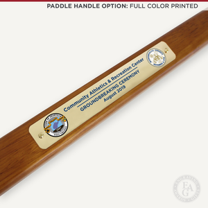 Gold Plated Groundbreaking Shovel - Paddle Handle - Full Color Printed Plate