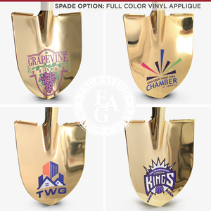 Gold Plated Groundbreaking Shovel - Paddle Handle - Full Color Vinyl Applique