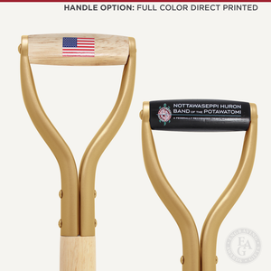 Groundbreaking Ceremonial Shovel Kit - Gold Finish D-Handle - Full Color Direct Printed Handle