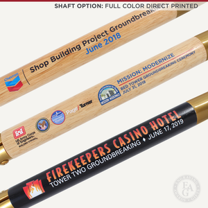 Groundbreaking Ceremonial Shovel Kit - Gold Finish D-Handle - Full Color Direct Printed Shaft