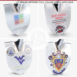 Groundbreaking Ceremonial Shovel Kit - Specialty Chrome Plated D-Handle - Full Color Vinyl Applique