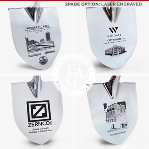 Groundbreaking Ceremonial Shovel Kit - Specialty Chrome Plated D-Handle - Laser Engraved Spade