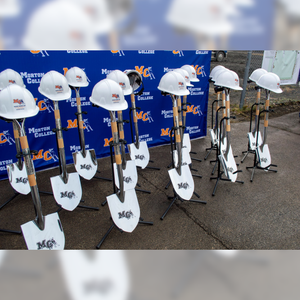 Groundbreaking Ceremonial Shovel Kit - Specialty Chrome Plated D-Handle - Morton College Groundbreaking Event