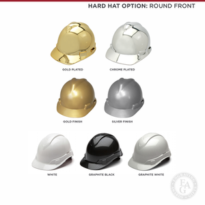 Groundbreaking Ceremonial Shovel Kit - Specialty Chrome Plated D-Handle - Round Front Hard Hat Options