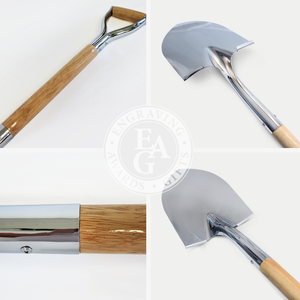 Groundbreaking Ceremonial Shovel Kit - Specialty Chrome Plated D-Handle - Shovel Quality Collage