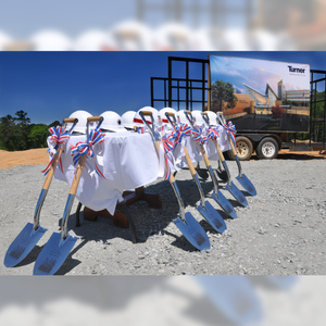 Groundbreaking Ceremonial Shovel Kit - Specialty Chrome Plated D-Handle - Turner Construction Groundbreaking Event