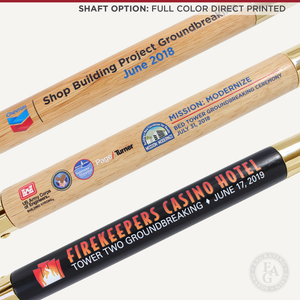 Groundbreaking Ceremonial Shovel Kit - Specialty Gold Plated D-Handle - Full Color Direct Printed Shaft