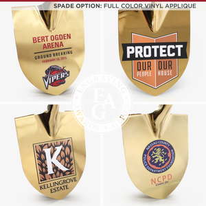 Groundbreaking Ceremonial Shovel Kit - Specialty Gold Plated D-Handle - Full Color Vinyl Applique
