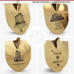 Groundbreaking Ceremonial Shovel Kit - Specialty Gold Plated D-Handle - Laser Engraved Spade