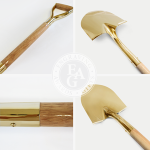 Groundbreaking Ceremonial Shovel Kit - Specialty Gold Plated D-Handle - Shovel Quality Collage