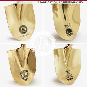 Groundbreaking Ceremonial Shovel Kit - Traditional Gold Plated Long Handle - Laser Engraved Spade