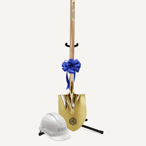 Groundbreaking Ceremonial Shovel Kit - Traditional Gold Plated Long Handle