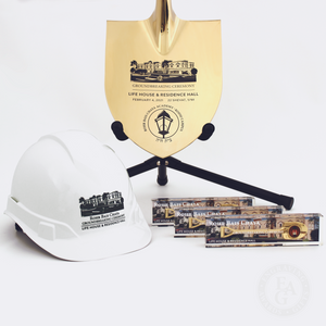 Groundbreaking Specialty Shovel, Round Front Hard Hat and Shovel Paperweights