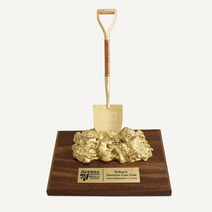 Miniature Shovel Nugget Award on Walnut Base