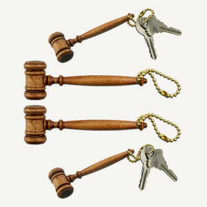"3-1/2"" Petite Style Walnut Finish Gavel Keychains"