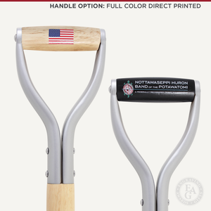 Silver Finish Groundbreaking Shovel - D-Handle - Full Color Direct Printed Handle