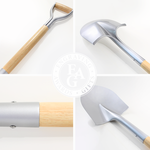 Silver Finish Groundbreaking Shovel - D-Handle - Quality Collage